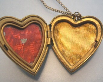 Heart Locket Necklace Gold Filled Mother of Pearl Vintage
