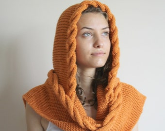 Knit Orange Wool Hooded Cabled Long Scarf  Cowl / Christmas gift Under USD100