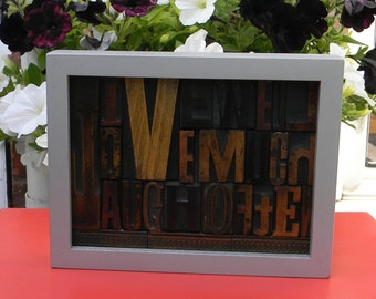 LIVE well, LOVE much, LAUGH often,  vintage letterpress in  a silver frame.