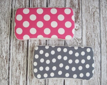 Pink or Gray Baby Wipes Case, Pink or Gray Polka Dot Travel Baby Wipes Case