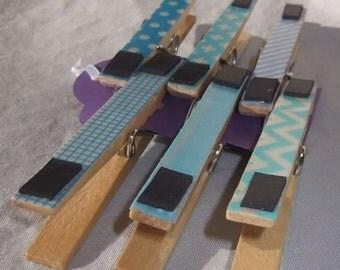 True Blue Set of 6 Magnetic Clips, Blue Fridge Magnets, Magnetic Clothes Pins, Blue Refrigerator Magnets, Blue Clothes Pins Magnetic