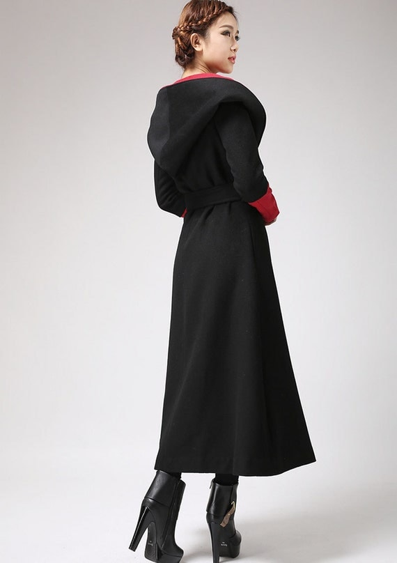 oversized coat Long wool coat Black and Red trench coat