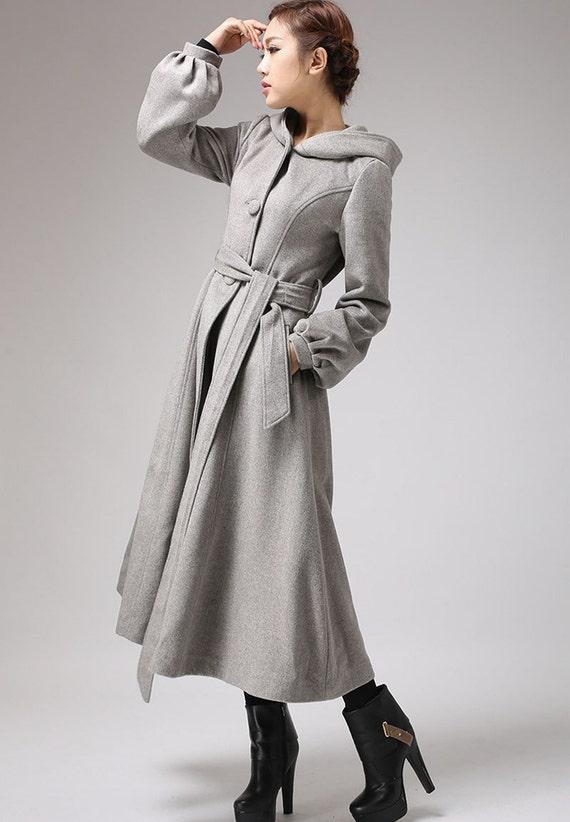 Light gray coat wool coat long coat belted coat hooded