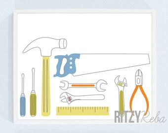 Tools Modern Nursery Art Print - Minimalist Tool Set Kids Playroom Art, Hammer, Saw, Screwdrivers, Wrenches, Boys Toolset Print