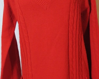 Vintage Husdons Cable Knit V-Neck Pullover Sweater, Red - Size Medium