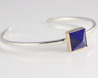Lapis and Gold Cuff Bracelet- Pyramid cut blue lapis, 14K gold, and sterling silver