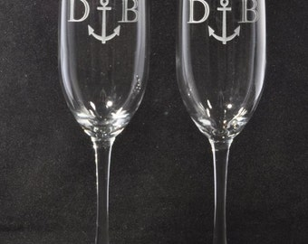 Nautical Wedding Etched Anchor Personalized Champagne Flutes
