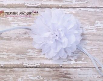 White Flower Headband, Emma Petal, Newborn Headband, Baby Headband, Infant Headband, Photo Prop, Flower Girls, Weddings, School Bows