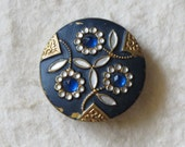 Victorian Art Nouveau Button Blue Glass Jewels Flowers Cold Painted Brass c.1890