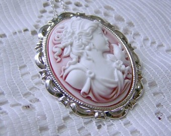 GODDESS Cameo - APHRODITE with Dove - Cameo Pendant - Cameo Brooch - Lady in Red - Brooch and Necklace combination - Goddess of Love