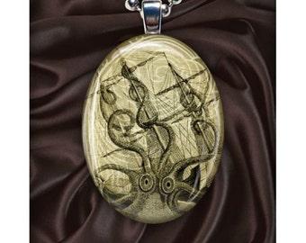 The Kraken Art Pendant - Giant Squid - Octopus - Oval - Vintage Illustration - Silver Pendant Necklace