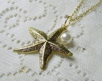 Starfish Necklace - Gold - Sea Star Pendant - Beach Wedding - Bridesmaid Jewelry - Destination Wedding Jewelry