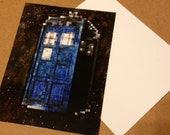Doctor Who pixelated Tardis Pop Art Stationary Note Card postcard