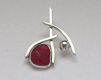 Sea Glass Jewelry - Sterling Extremely Rare Red English Sea Glass Pendant