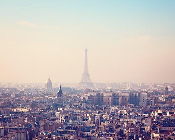Paris Print, Paris Photography, Dreamy Eiffel Tower Photo, Paris Art Print, Travel Photography, Pastel Paris Decor - Sunrise Over Paris
