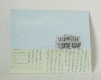 Mixed Media Image Transfer / House in the Meadow