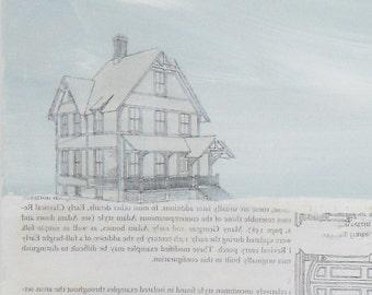 Mixed Media Image Transfer / House under blue grey sky