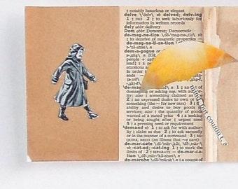 A Day In The Rain - Paper Collage - Umbrella Boy