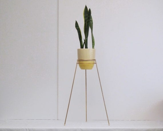 mid century modern bullet planter stand double ring saturn. Black Bedroom Furniture Sets. Home Design Ideas