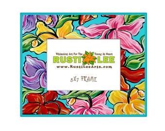 Hawaiian Hibiscus Flowers Picture Frame 5X7