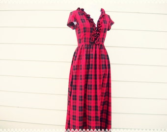 Queen of the Woodlands Red Plaid Maxi Dress - Red Holiday Dress, Red Plaid Dress, Long Plaid Dress, Size Small