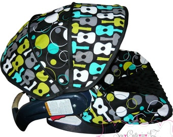 Infant Car Seat Cover Groovy Guitars and Hoopla Dots