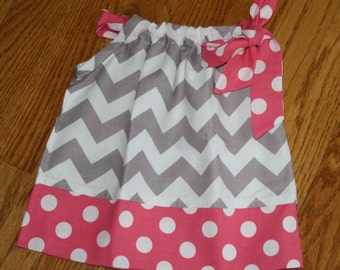 gray chevron pink Pillowcase Dress for toddler girls baby sundress by blakeandbailey