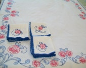 SALE - Tablecloth and 8 matching linen napkins, hand embroidered, vintage, blue, red, white