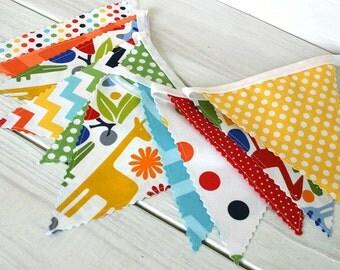 Bunting, Fabric Banner, Fabric Flags, Animals, 2D Zoo, Giraffe, Circus, Primary Rainbow Nursery Decor, Birthday Decoration - Day at the Zoo