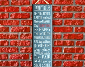 Family Rules Novelty Sign with Blue Background, Inspirational Signs, Family Gift PM364