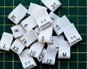 Clothing Size Tags, organic cotton sew in size labels, pack of 20 (shirt labels)