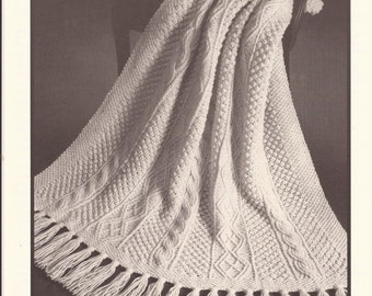 "Reynolds Candide Aran Afghan Knitting Pattern no.27 Size 48"" x 60"" plus 8"" fringe"
