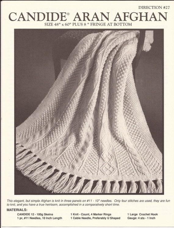 Aran Afghan Knitting Patterns : Reynolds Candide Aran Afghan Knitting Pattern no.27 Size
