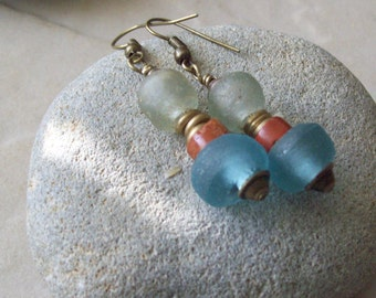 Recycled Glass Earrings  DISTANT SHORES- Handmade AfricanTrade Beads - Foam Green and Turquoise Glass Beads