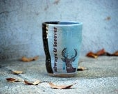ceramic large cup tumbler deer blue and brown always and forever