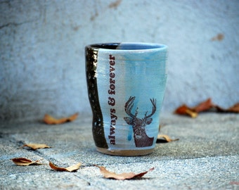 Ceramic tumbler , Blue pottery , Woodland cup, Ceramic cup , Coffee cup , Handless cup ,Handmade Pottery Mug, Ready to ship, Unique pottery