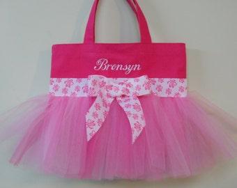 Embroidered Dance Bag, Naptime 21, Princess tote bag, Hot Pink Tote Bag with Pink Tulle & Ballet Shoe Ribbon MINI Tutu Ballet Bag MTB761 BP