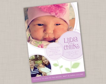 Purple Blooms Multi-photo Birth Announcement (GIRL) print your own