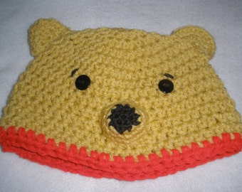 Winnie the Pooh  Bear Cap Beanie Hat - Hand Crocheted - To Fit Newborn - 4 years