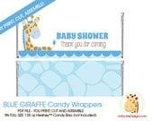 Blue Giraffe Jungle Baby Shower Hershey Candy Bar Wrapper INSTANT DOWNLOAD