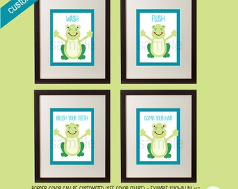 Set of 4 Frog Bathroom Prints, Kids Frog Bath, Flush, Wash, Brush, Comb. Add your own customization and colors to choose from!