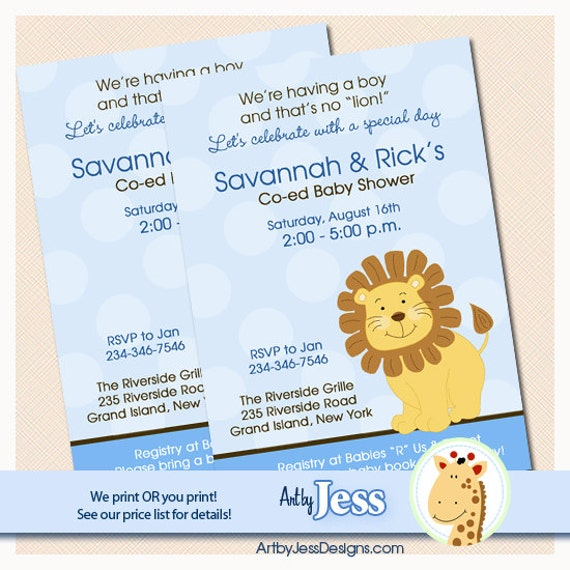 Blue Little Lion Boy Baby Shower Invitations, Print your own or Printed Jungle Baby Shower Invitations