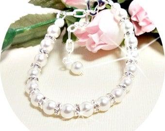 Girls Bracelet, Pearl Bracelet, Rhinestone, Glitz, Flower Girl, Pageant Jewelry, Kids Jewelry, Toddler Jewelry