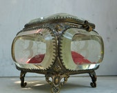 1900s French Chunky Glass Jewelry Casket Trinket Box with Etched Birds & Tendrils