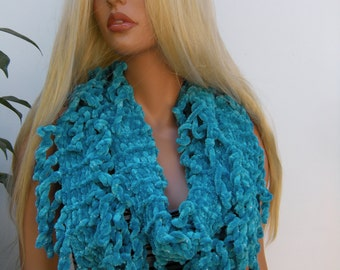 Turquoise Velvet infinity scarf with fringes  with slight silver Hand knitted fringe scarf Infinity scarf  Loop scarf LuxuriousScarf