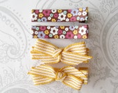 Hair Bow Clips -- Vintage Flowers -- Yellow