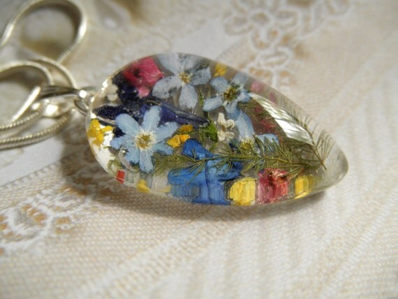 Garden of Memories-Sky Blue Forget-Me-Nots, Lobelia, Heather, Queen Anne's Lace, Ferns Pressed Flower Glass Teardrop Pendant-Nature's Art