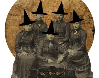 Vintage Halloween Witch Academy Graduation Portrait Printable Digital Download
