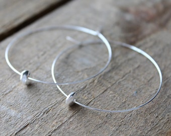 Silver Hoops, Silver Hoop Earrings, Large Silver Plated Hoops Earrings Disc Bead