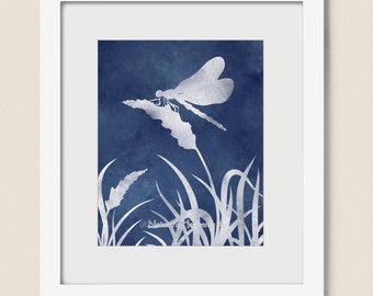 Dragonfly On Wheat Grass 8 x 10 Art Print, Dark Blue Nature Inspired Living Room Wall Art (212)